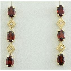 2.65 CTW Garnet 18K Yellow Gold Diamond Earrings