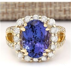 8.95 CTW Natural Tanzanite And Diamond Ring In 18K Yellow Gold