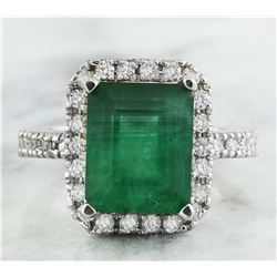 3.60 CTW Emerald 18K White Gold Diamond Ring