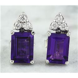 2.65 CTW Amethyst 18K White Gold Diamond Earrings
