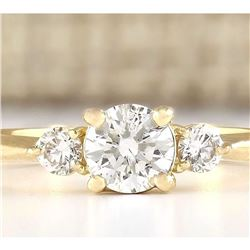 0.63 CTW Natural Diamond Engagement Ring 18K Solid Yellow Gold