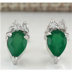 1.19 CTW Natural Emerald And Diamond Earrings 18K Solid White Gold