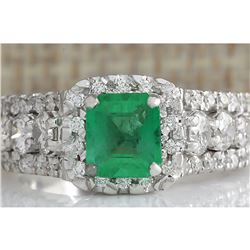 3.30 CTW Natural Emerald Diamond Ring 18K Solid White Gold