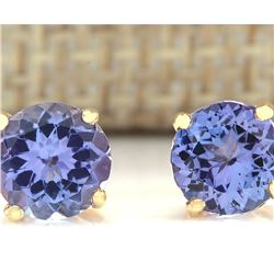 2.30 CTW Natural Blue Tanzanit Earrings 14k Solid Yellow Gold