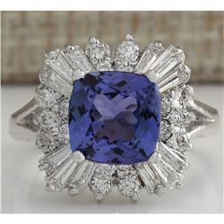 3.74 CTW Natural Blue Tanzanite And Diamond Ring In 14K White Gold