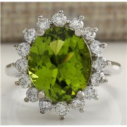 7.59 CTW Natural Peridot And Diamond Ring 14K Solid White Gold