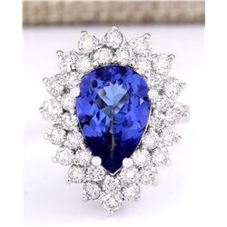 6.21 CTW Natural Blue Tanzanite And Diamond Ring 14k Solid White Gold