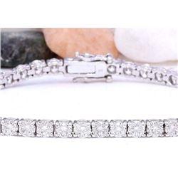 1.50 CTW Natural Diamond 18K Solid White Gold Bracelet