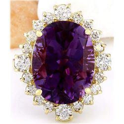 10.99 CTW Natural Amethyst 18K Solid Yellow Gold Diamond Ring