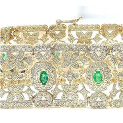7.63 CTW Natural Emerald 18K Solid Yellow Gold Diamond Bracelet