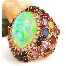 26.5 CTW Natural Opal, Sapphire 14K Solid Rose Gold Diamond Ring