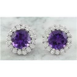 3.65 CTW Amethyst 14K White Gold Diamond Earrings