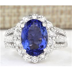 5.42 CTW Natural Blue Tanzanite And Diamond Ring 18K Solid White Gold