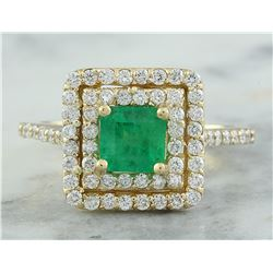 1.55 CTW Emerald 18K Yellow Gold Diamond Ring