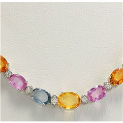 34.11 CTW Natural Ceylon Sapphire And Diamond Necklace In 14K White Gold
