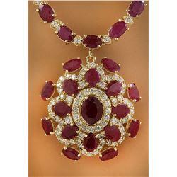 43.35 CTW Ruby 14K Yellow Gold Diamond Necklace