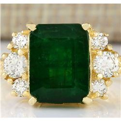 5.15 CTW Natural Emerald And Diamond Ring In 18K Yellow Gold