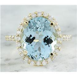 7.07 CTW Aquamarine 18K Yellow God Diamond Ring