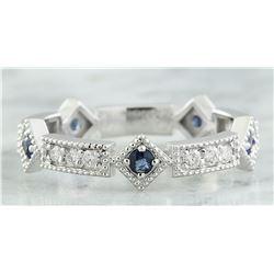 0.43 CTW Sapphire 18K White Gold Diamond Ring