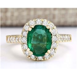2.31 CTW Natural Emerald And Diamond Ring In 18K Yellow Gold