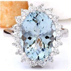6.06 CTW Natural Aquamarine 18K Solid White Gold Diamond Ring
