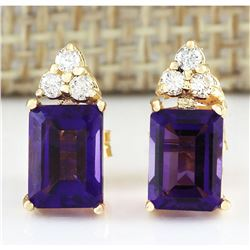 2.66 CTW Natural Amethyst And Diamond Earrings 14k Solid Yellow Gold