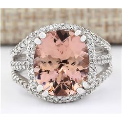 5.91 CTW Natural Morganite And Diamond Ring In 18K White Gold