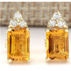 2.65 CTW Natural Citrine And Diamond Earrings 14k Solid Yellow Gold