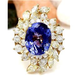 10.73 CTW Natural Tanzanite 18K Solid Yellow Gold Diamond Ring