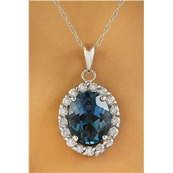 2.00 CTW Topaz 18K White Gold Diamond Necklace