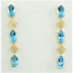 2.65 CTW Topaz 18K Yellow Gold Diamond Earrings