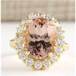 8.85 CTW Natural Morganite And Diamond Ring In 18K Solid Yellow Gold
