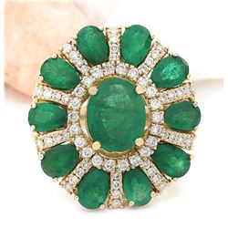 6.39 CTW Natural Emerald 18K Solid Yellow Gold Diamond Ring