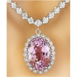 23.81 CTW Kunzite 14K White Gold Diamond Necklace