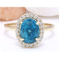 5.02 CTW Natural Zircon 14K Solid Yellow Gold Diamond Ring
