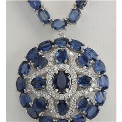 57.24 CTW Natural Blue Sapphire And Diamond Necklace In 18K White Gold