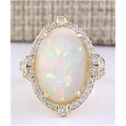 7.09 CTW Natural Opal And Diamond Ring In 18K Yellow Gold