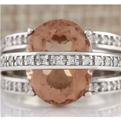 8.05 CTW Natural Morganite And Diamond Ring 18K Solid White Gold