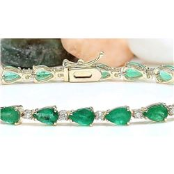9.02 CTW Natural Emerald 18K Solid Yellow Gold Diamond Bracelet