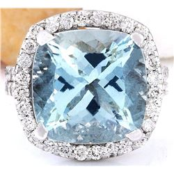 10.88 CTW Natural Aquamarine 18K Solid White Gold Diamond Ring