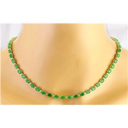 27.25 CTW Natural Emerald 14K Solid Yellow Gold Diamond Necklace