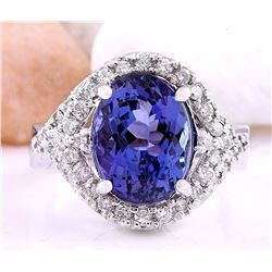 5.82 CTW Natural Tanzanite 18K Solid White Gold Diamond Ring