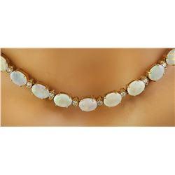 21.40 CTW Opal 14K Yellow Gold Diamond Necklace