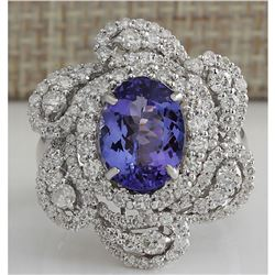4.97 CTW Natural Tanzanite And Diamond Ring 18K Solid White Gold