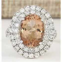 5.12 CTW Natural Morganite And Diamond Ring In 18K White Gold
