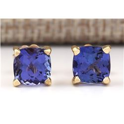 2.90 CTW Natural Blue Tanzanite Earrings 14k Solid Yellow Gold