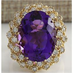12.11 CTW Natural Amethyst And Diamond Ring In 18K Solid Yellow Gold