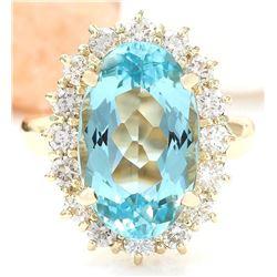 6.92 CTW Natural Aquamarine 14K Solid Yellow Gold Diamond Ring