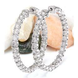 3.50 CTW Natural Diamond 18K Solid White Gold Earrings