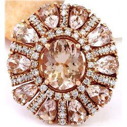 11.50 CTW Natural Morganite 18K Solid Rose Gold Diamond Ring